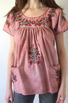 Vintage 70's MEXICAN Embroidered Cotton Tunic Top by AsAvintage