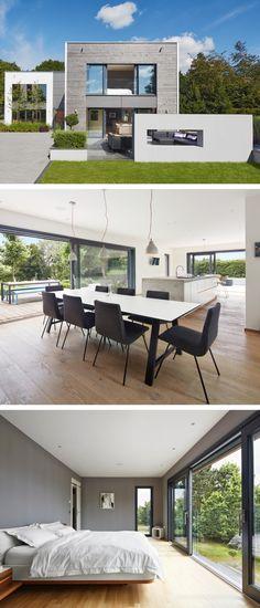Einfamilienhaus modern mit Galerie und Flachdach-Architektur - Design-Haus Weald House Baufritz Fertighaus - HausbauDirekt.de