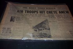 Daily Times Herald Newspaper Air Troops Hit Crete World War 2 Gone with Wind Ad