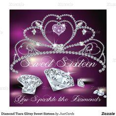 Diamond Tiara Glitzy Sweet Sixteen 5.25x5.25 Square Paper Invitation Card