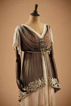 """fripperiesandfobs: """" Evening dress, 1910's From the collection of Alexandre Vassiliev via Fashion Blog """""""