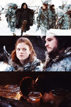 Game of Thrones: Kit Harington as Jon Snow and Rose Leslie as Ygritte