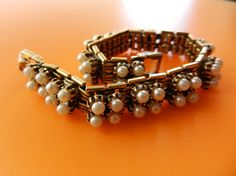 Lovely Vintage  Gold Tone link faux pearl Bracelet by RAKcreations, $82.00