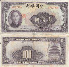 CHINA - CÉDULA CIRCULADA DE 100 YUAN ANO 1940 - PEÇA EM MUITO BOM ESTADO DE CONSERVAÇÃO !