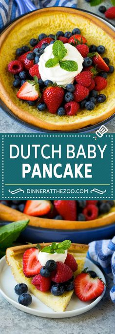This Dutch baby recipe is a giant puffed pancake baked in a skillet, then topped with fresh fruit and whipped cream. An easy and decadent breakfast option. Best Breakfast Recipes, Brunch Recipes, Baby Food Recipes, Sweet Recipes, Recipes Dinner, Healthy Recipes, Vegetarian Recipes, Dessert Recipes, Brunch Dishes