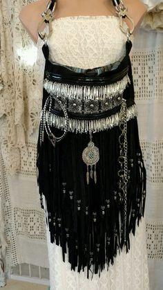 Handmade Black Suede Leather Fringe Shoulder Bag Hippie Western Boho Bag tmyers #Handmade #ShoulderBag