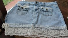 Jean skirt with vintage lace boho chic bohemian by SummersBreeze