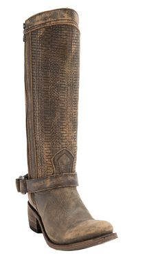Liberty Black® Women's Tan Vintage Distressed with Embossed Woven Top Harness Round Toe Western Fashion Boots