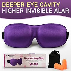 AMAZKER 3D Sleep Mask Upgraded Invisible Alar  Deep Orbit Eye Mask for Sleeping Antifade Antibacterial Antimite Contoured Face Mask Blindfold with Ear Plugs Travel Pouch Best Night Eyeshade -- See this great product.