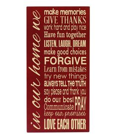Love this Red & Cream 'In Our Home' Wall Art by Vinyl Crafts on #zulily! #zulilyfinds