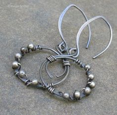 Oxidized+Sterling+Silver+Hoopy+Earrings+Hand+by+DesignsbyCher