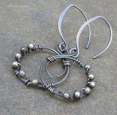 Oxidized+Sterling+Silver+Hoopy+Earrings+Hand+by+DesignsbyCher