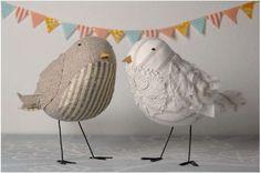 Decorazioni torte nuziali - Decorazione torta nuziale con uccelli in stoffa