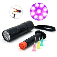 SAMS Fly Tying UV Cure Light and Glue Dispenser Syringe Coating Tools Kits Flashlight with 395 - 400 nm 9 Leds Ultra Violet