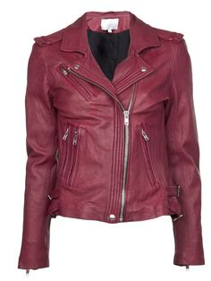 muted red leather jacket