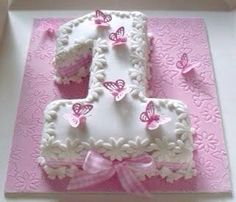 Question: Can you combine cakes and papercraft? As requested I decorated the No 1 cake (chocolate sponge, chocolat. 1st Birthday Cakes, 1st Birthday Girls, Birthday Parties, Birthday Ideas, Pink Birthday, Butterfly Cakes, Butterfly Birthday, Butterflies, Occasion Cakes