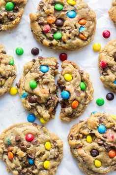 Thick and chewy, these flourless monster cookies are so easy to make. They require only one bowl and are filled with your favorite monster cookie ingredients. Gluten free options are super easy to add (Gluten Free Recipes Cookies) Gluten Free Sweets, Gluten Free Baking, Gluten Free Recipes, Easy Gluten Free Cookies, Gluten Free Christmas Cookies, Easy To Make Cookies, Celiac Recipes, Making Cookies, Cooking Recipes