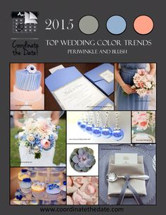 It's that time of year again...top five color combos for 2015... Periwinkle And Blush For your #springwedding or your #summerwedding, #pantone colors at their finest!  #colorcombos #wedding #events #coordinatethedate  www.coordinatethedate.com