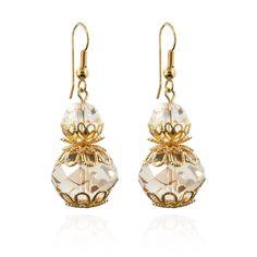 Crystal Bead & Filigree Drop Earrings