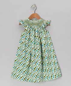 Take a look at this Blue Polka Dot Smocked Angel-Sleeve Dress - Infant & Toddler by Smocked Giraffe on #zulily today!