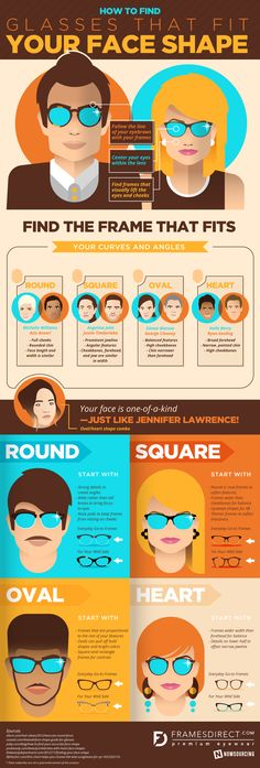 How To Choose The Right Glasses For Your Face Shape #Infographic