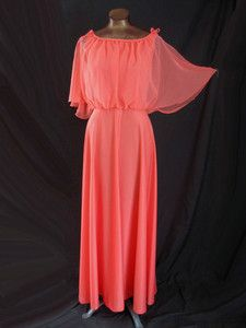 70s coral poly jersey knit maxi dress