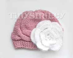 Knit Baby Hat Cable Baby Girl Hat Pink Knit Baby by TinySmiley