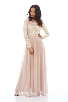Women's Long Sleeved Lace Maxi Nude Dress - AX Paris USA-Fashion Dresses, Black Dresses, Evening Dresses and Party Dresses