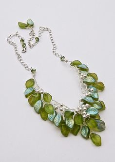 Green Bead Necklace Leaf Necklace Bridal by CherylParrottJewelry, $148.95