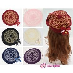 6 Colors Card Captor Sakura Magic Circle Beret Cap with Little Bow SP151781 - SpreePicky  - 1
