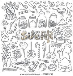 Different Types Of Sugar. Simple Hand Drawn Sketch Style Vector Illustrations Isolated Over White Background - 273185792 : Shutterstock