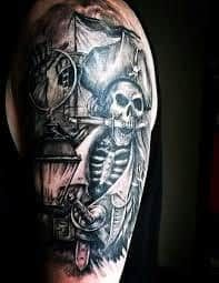 Pirates Tattoo 50 pirate tattoos for men - arrr ships and eye patches Pirate Tattoo Sleeve, Pirate Skull Tattoos, Pirate Ship Tattoos, Tribal Tattoos For Men, Full Sleeve Tattoos, Tattoos For Guys, Fake Tattoo Sleeves, Temporary Tattoo Sleeves, Totenkopf Tattoos