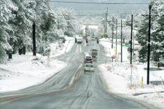 Flagstaff AZ on a snowy day.
