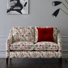 sofette upholstered in Hedgerow fabric by Angie Lewin - Bright Red/Blue Angie Lewin, Chair Upholstery, Soft Furnishings, Decoration, Home And Living, Living Rooms, Modern Furniture, Sofas, Love Seat