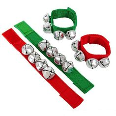 Pack of 6 bracelets. Spread Christmas cheer with these musical bracelets! 8″ red and green nylon fabric bracelets with 4 jingle bell charms. Not Recommended for Children Under 5 Years of Age.