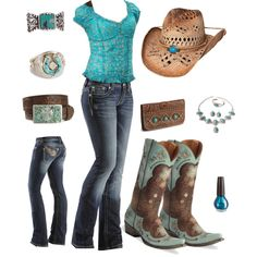 A fashion look from August 2012 featuring graphic t shirts, blue jeans and white sandals. Browse and shop related looks. Cowgirl Style Outfits, Country Style Outfits, Country Wear, Country Girl Style, Country Fashion, Western Outfits, Western Wear, My Style, Cowgirl Fashion