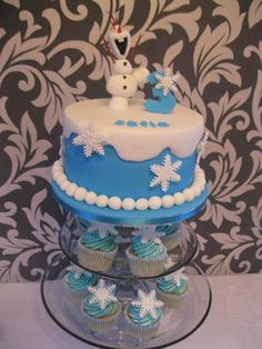 olaf frozen cake and cupcakes by jenny lofthouse