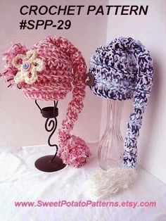 Instant Download PDF Crochet Pattern - Long Tailed Pixie Munchkin Hat SPP-29. Sizes from newborn to adult  - beginner level