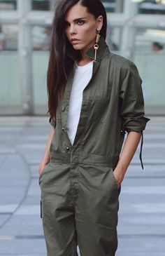 jumpsuit in 2020 Khakis Outfit, Olive Jumpsuit, Fashion Outfits, Womens Fashion, Fashion Trends, Style Fashion, Denim Tees, Dance Outfits, Military Fashion