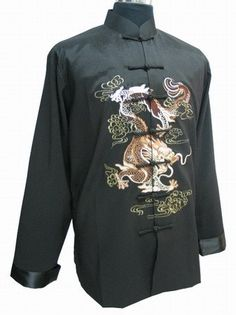 Chinese Vintage Men's Embroider Jacket Kung Fu Coat Dragon Wholesale and retail S-XXXL
