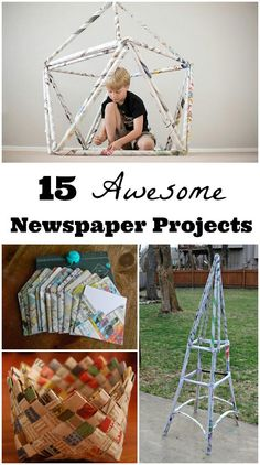 Use newsprint as a building material for kids and teens to create some awesome crafts & DIY engineering projects! Recycled Crafts For Kids, Recycling Projects For Kids, Recycled Projects Kids, Kids Craft Projects, Children Projects, Crafts To Make, Fun Crafts, Crafts For 2 Year Olds, Cool Art Projects