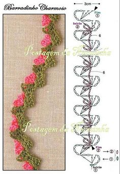 Edging (Leaves with a tiny flower )I would crochet the flowers in a long row and not individual..After I made the row of leaves..
