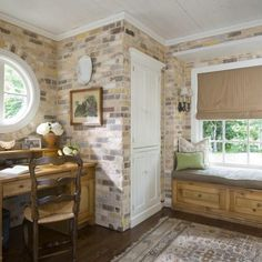Mudroom, Home Office - traditional - home office - charlotte - Katie Emmons Design Interior Walls, Interior Design, Brick Interior, Rustic Office, H & M Home, Looks Vintage, Cozy House, Mudroom, Home Office