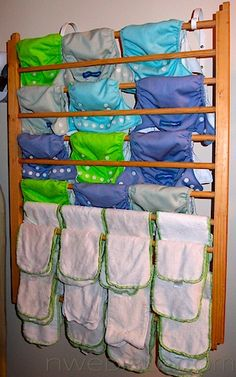 13.  Repurposed or recycled project - old crib rail turned into cloth diaper dryer, what an awesome idea, I NEED one of these!! - #ByNature.ca #Pin2Inspire