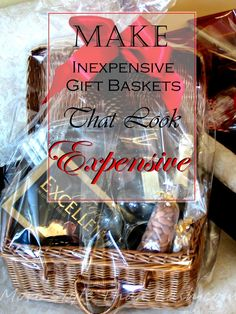 How to make inexpensive gift baskets that look expensive? Learn the secrets from a former gift basket maker that had years of experience and tips and tricks. Cheap Gift Baskets, Thank You Gift Baskets, Candy Gift Baskets, Gift Baskets For Women, Themed Gift Baskets, Wine Gift Baskets, Christmas Gift Baskets, Raffle Baskets, Cheap Gifts