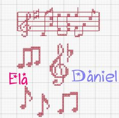 Schema punto croce Note musica