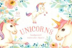 Unicorns Watercolor Clip Art Graphics The set of high quality hand painted watercolor unicorns and flowers images. Included pre-made bouqu by everysunsun Pastel Watercolor, Watercolor Drawing, Watercolor And Ink, Painting & Drawing, Wreath Watercolor, Business Illustration, Pencil Illustration, Graphic Illustration, Art Illustrations