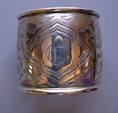 Lovely Engraved Art Nouveau Sterling Napkin Ring