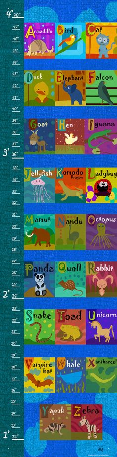 Alphabet of Animals on Background Growth Chart