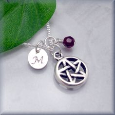 Pentagram Birthstone Necklace Initial Personalized Personalized Charm Sterling Silver Jewelry Pentacle Pagan Wiccan (SN673,674). $28.00, via Etsy.